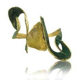 """Bracelet """"Opus 4 - Olympe"""" en métal doré et résine"""
