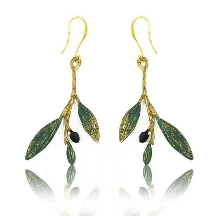"""Boucles d'oreille """"Opus 4 - Artémis"""" en métal doré peint et perle"""