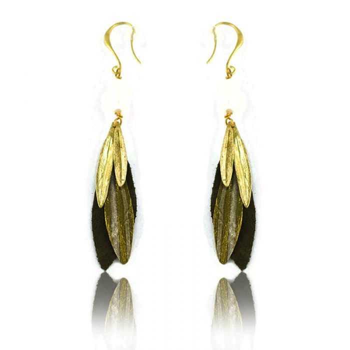 """Boucles d'oreilles """"Opus 4 - Athéna"""" en métal doré vieilli, perle et tissu"""