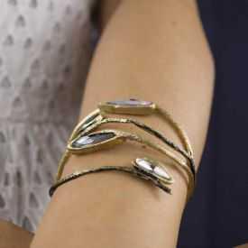 """Bracelet """"Opus 4 - Aphrodite"""" en métal doré vieilli et strass"""
