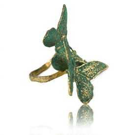 """Bague """"Opus 4 - Hermès"""" en métal doré vieilli peint"""