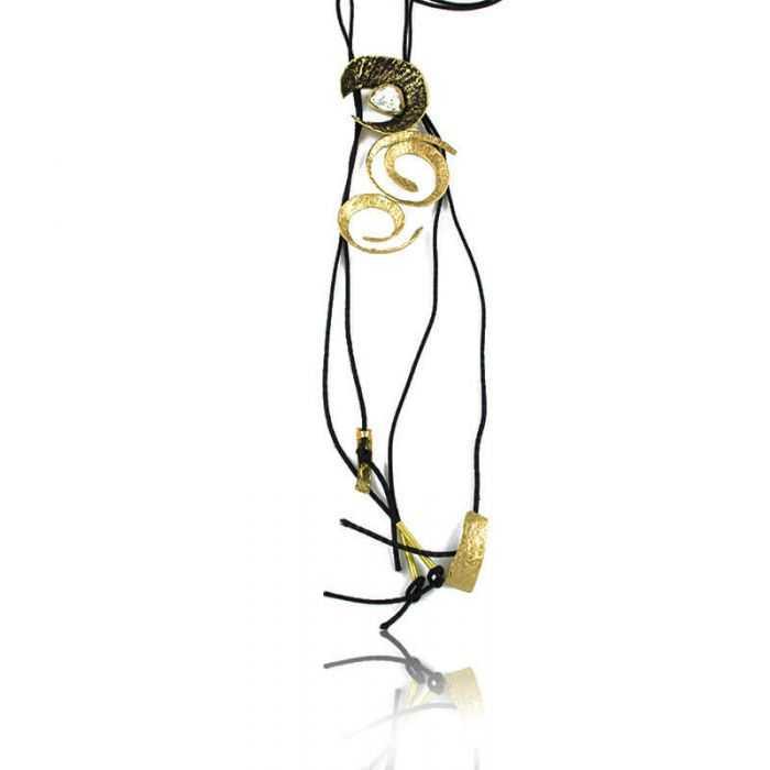 """Collier """"Opus 4 - Hestia"""" en métal doré et cordon"""