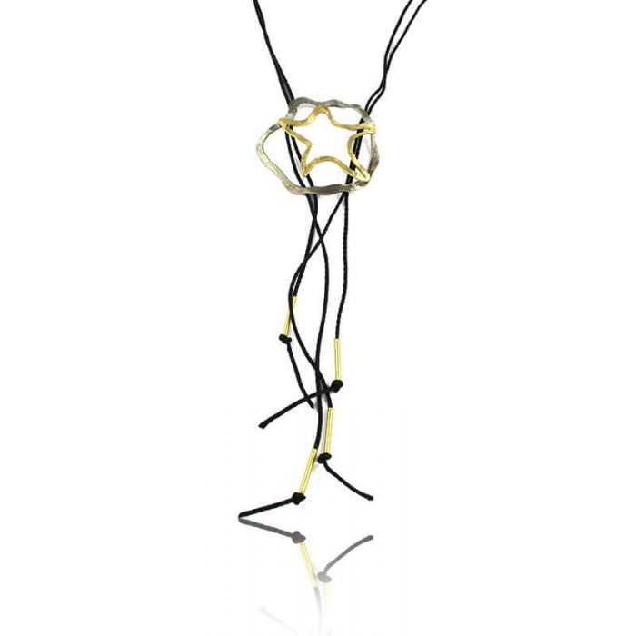 """Collier """"Opus 4 - Rhéa"""" en métal argenté et cordon"""