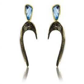 """Boucles d'oreilles """"Opus 4 - Arès"""" en métal doré vieilli et strass"""