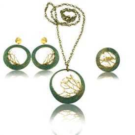 """Parure """"Opus 4 - Poséidon"""" en métal doré peint et perle"""