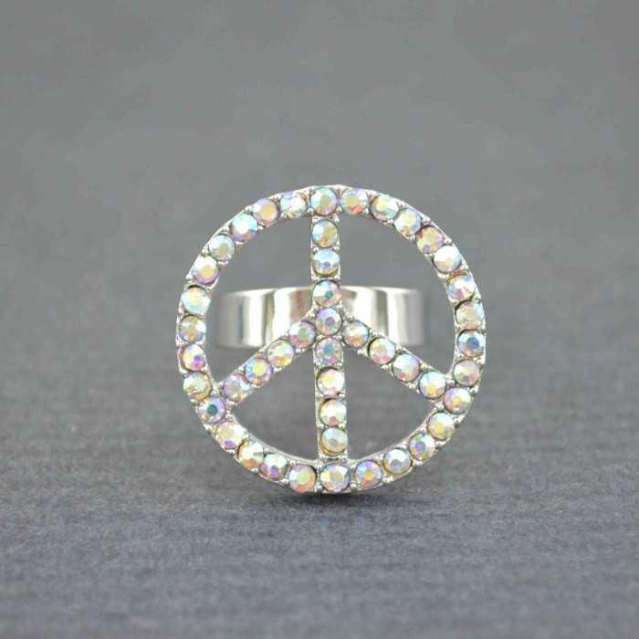 """Bague """"Peace & Love - Bright"""" en métal et strass   Les Bijoux de Camille, bijoux fantaisie pas cher"""
