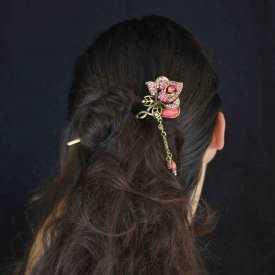 """Pic à cheveux """"Rose"""" en métal doré, résine et strass   Les Bijoux de Camille, bijoux fantaisie pas cher"""
