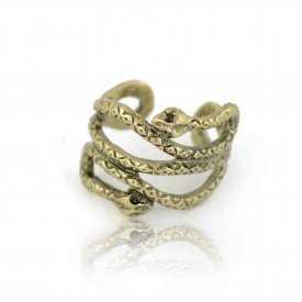 """Bague ouverte """"Serpent"""" en métal doré"""
