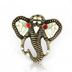"""Bague """"Elephant"""" en métal doré, strass et émail"""