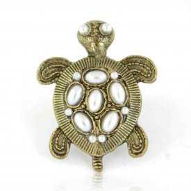 """Bague fantaisie """"Turtle"""" en métal doré et perles de synthèse"""